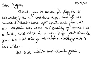 Thank you letter for playing at a wedding ceremony